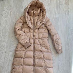 GUESS tan long winter puffer jacket size small
